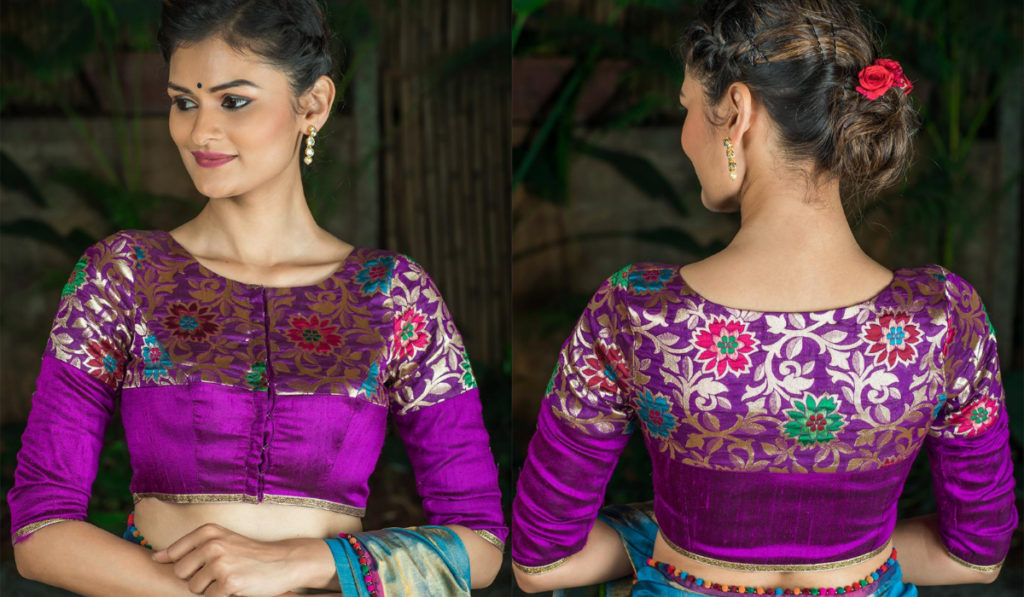 Heavy maggam work blouse with patchwork