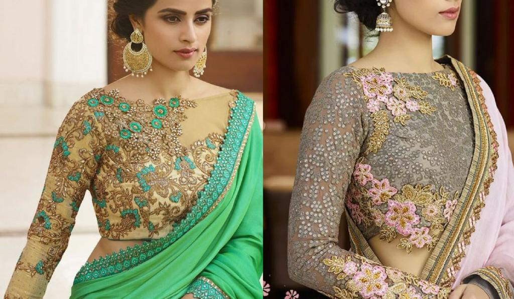 Kundan work, full sleeved blouse