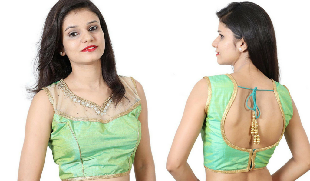 Kundan work, princess cut blouse