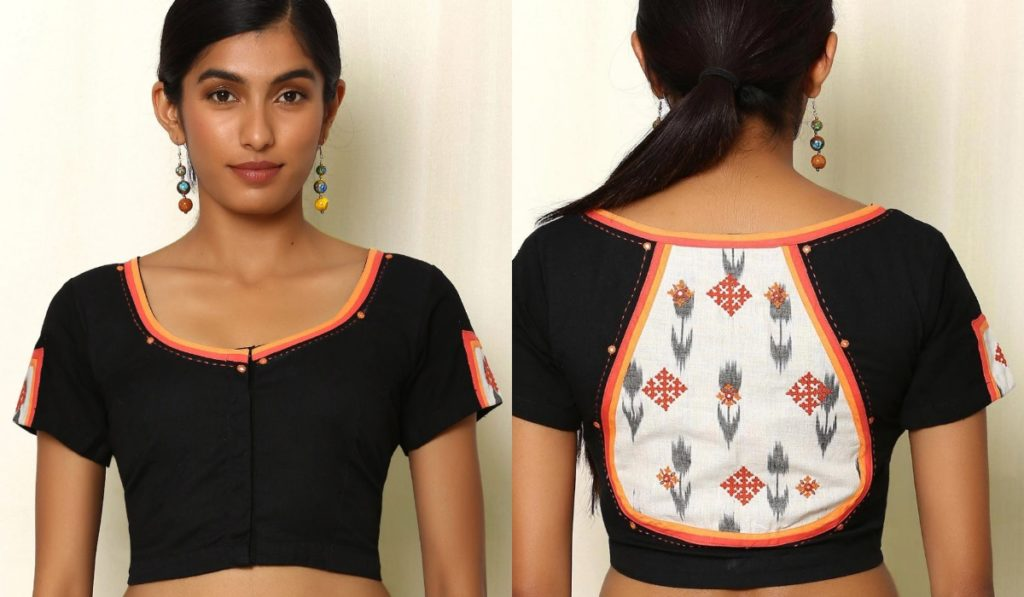 Mirror work blouse with patchwork