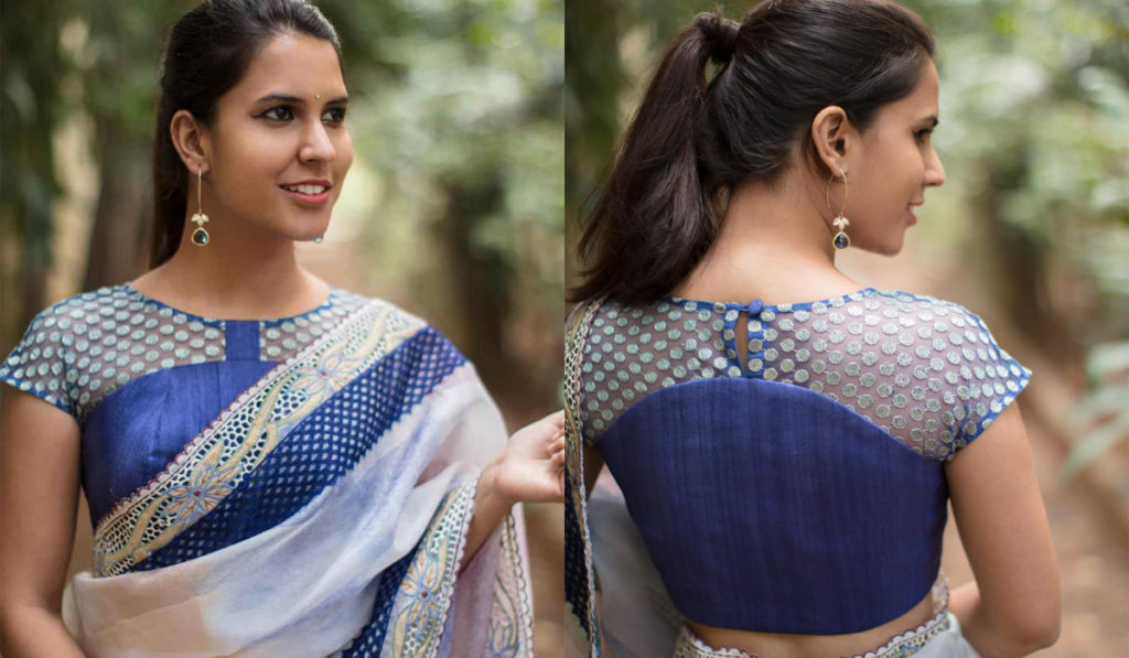 Net blouse with patchwork