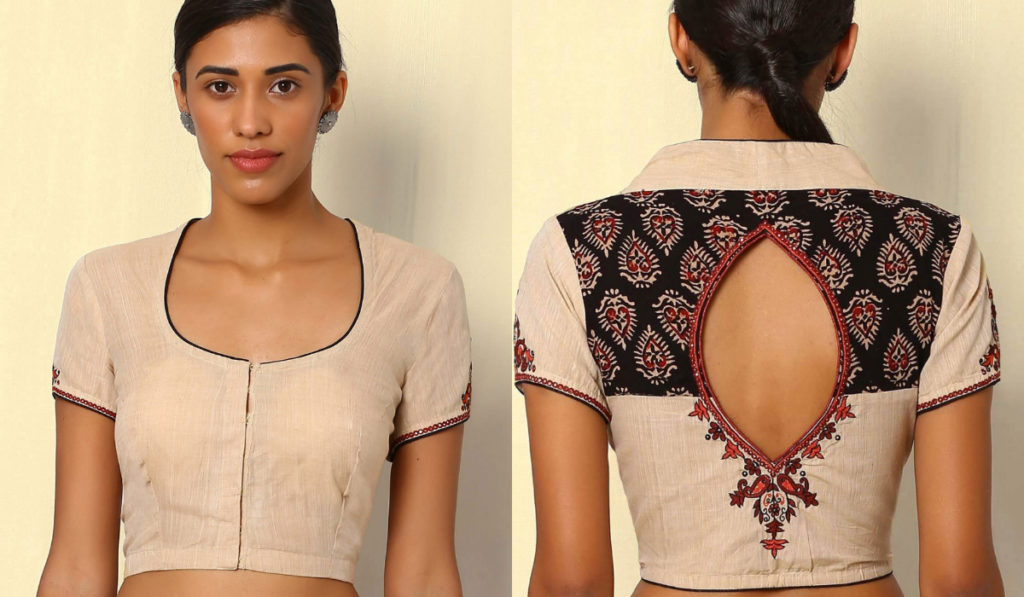 Oval shaped, patchwork blouse