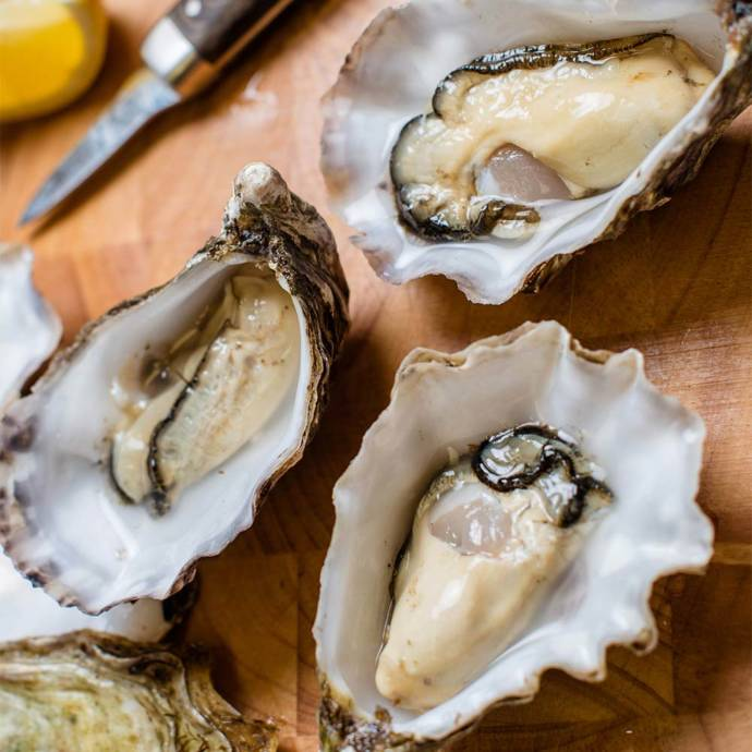 Raw oysters and sushi