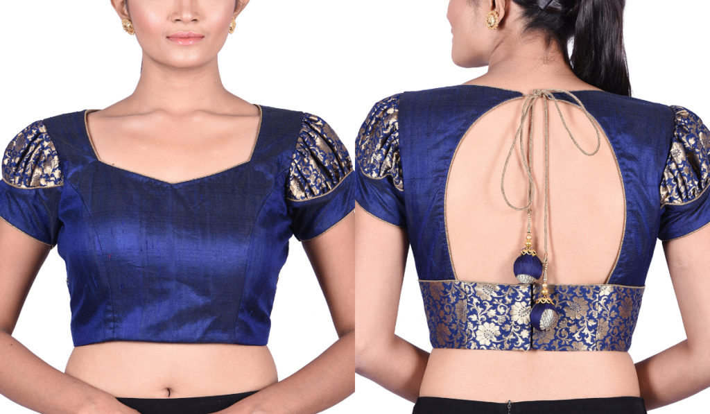 Piping, sweetheart neck blouse