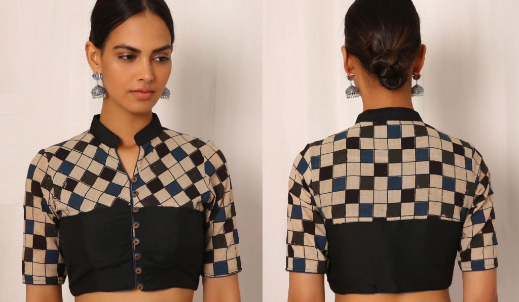 Stand collar, patchwork blouse