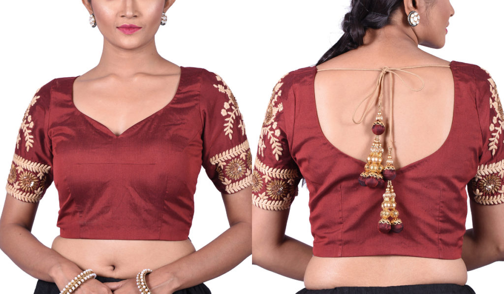 Traditional, sweetheart neck blouse