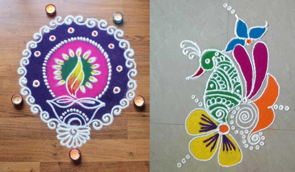 A Circle and Diya Rangoli Design
