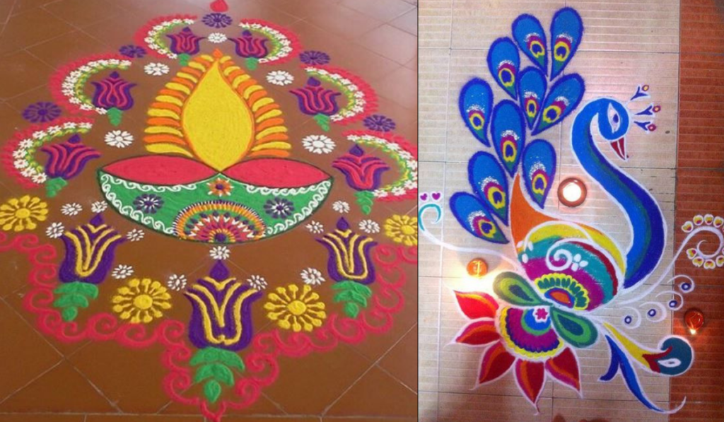 A bright Rangoli to symbolize positivity