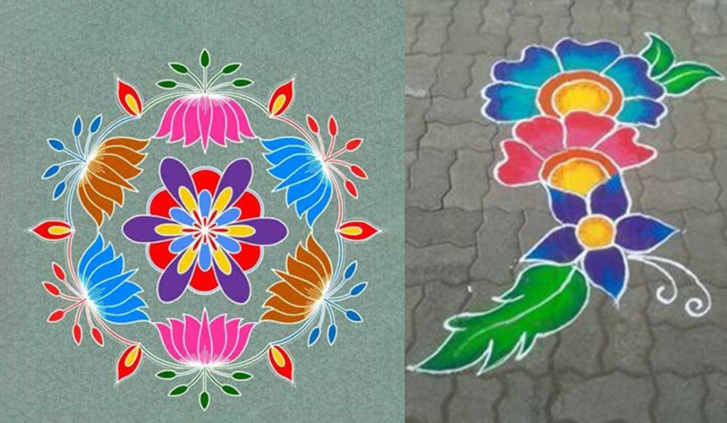 A circle full of Lotus Flowers or Flowers on Flowers Rangoli