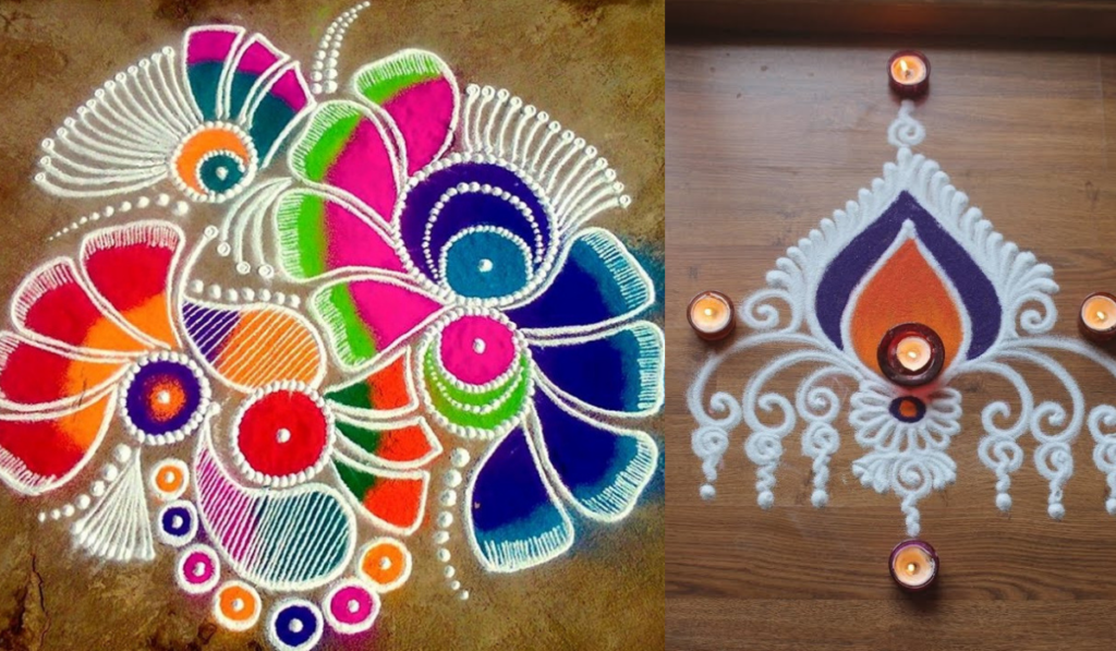 A plain flower full Rangoli or Flame design Rangoli