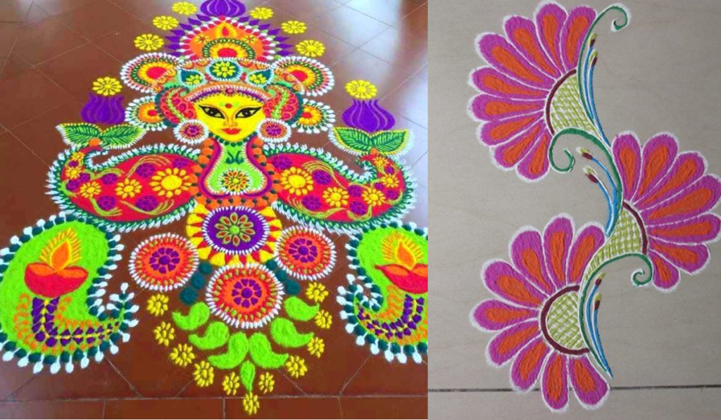 Deity Figure or Simple Flowers Rangoli