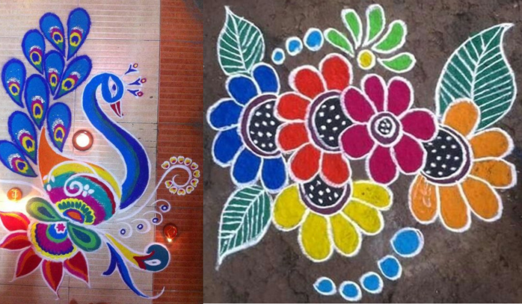 Flower and Peacock Rangoli