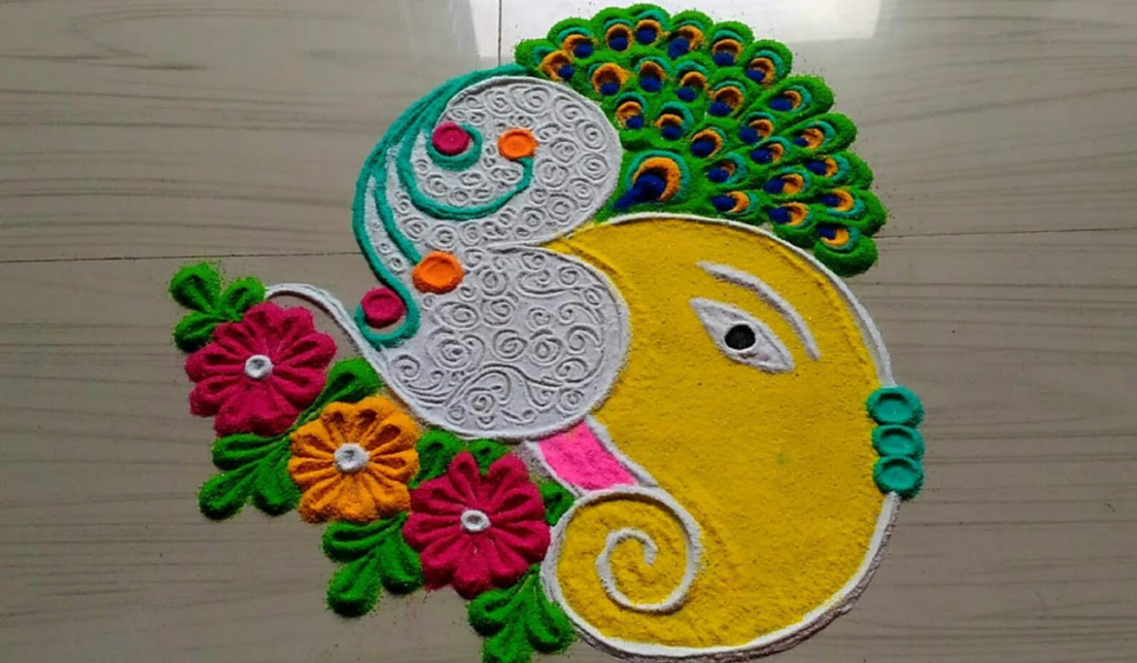Ganesha with Peacock's feather crown and floral necklace