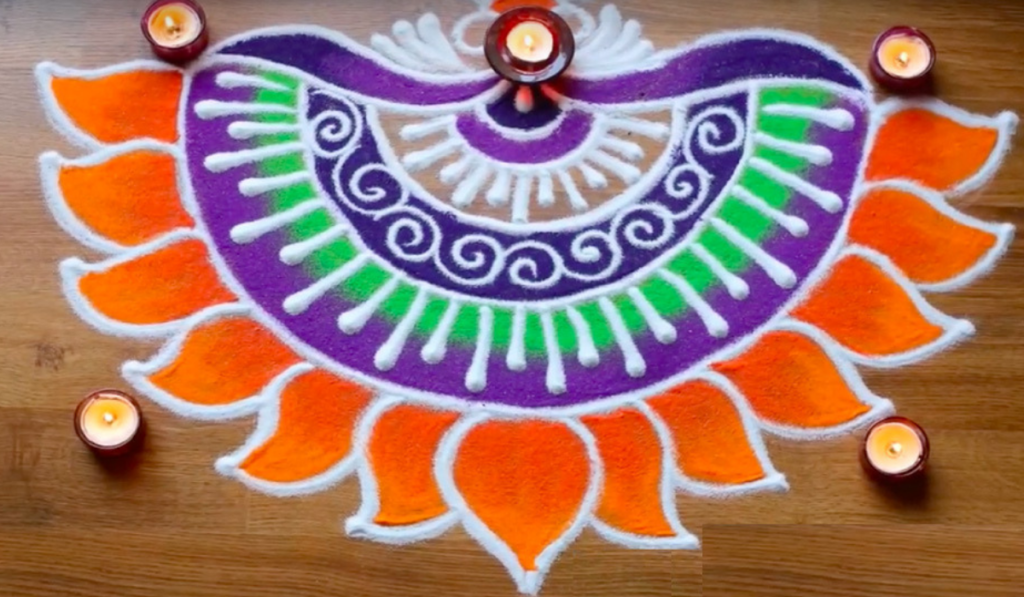 Half-done Flower or Semi-Circular Flower Rangoli Design