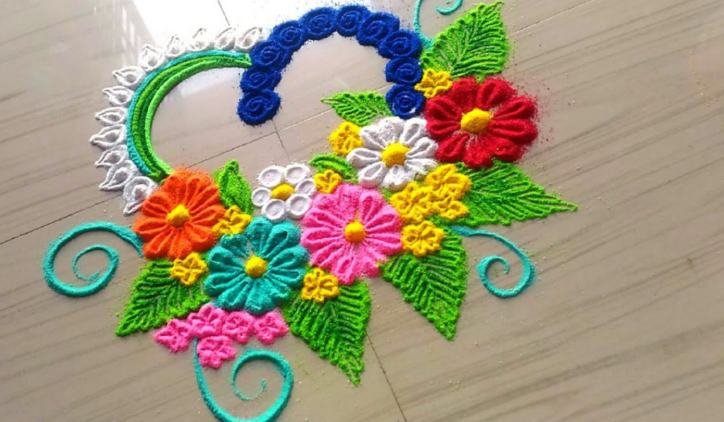 Heart and Flowers Rangoli Designs