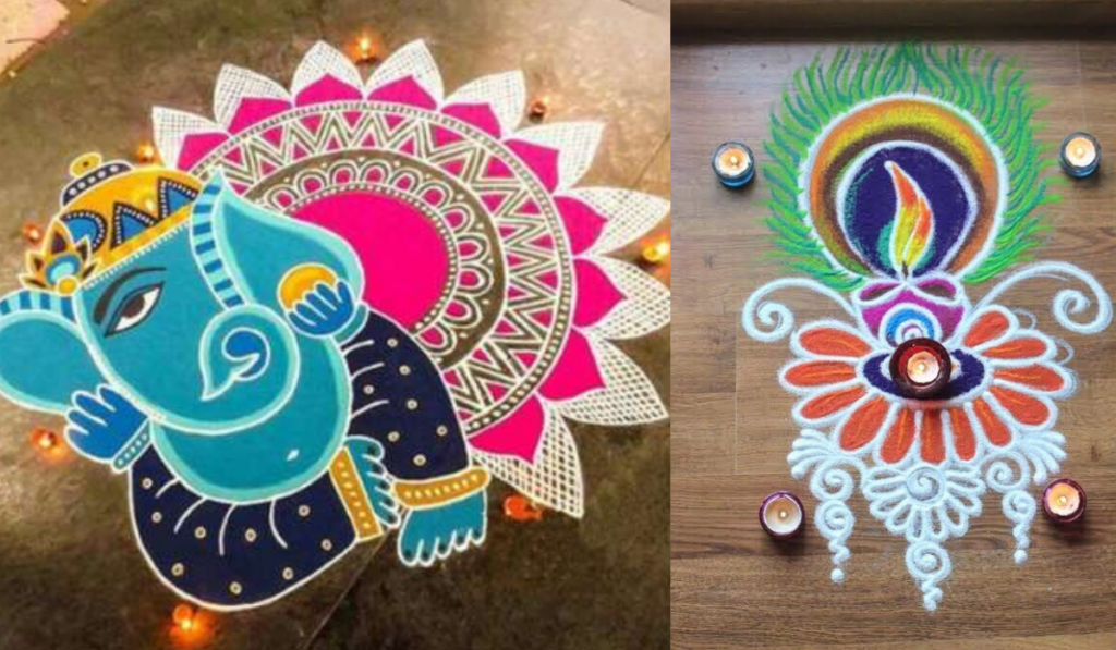 Lord Ganesha Rangoli or Peacock's Flame-like Feather Rangoli