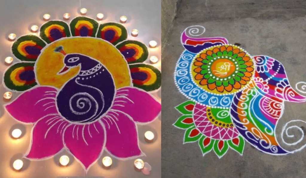 Lotus, Peacock and Petals Rangoli