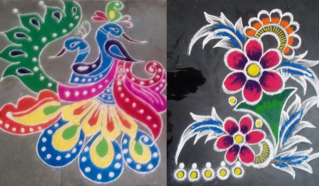Peacock Combination Rangoli Design