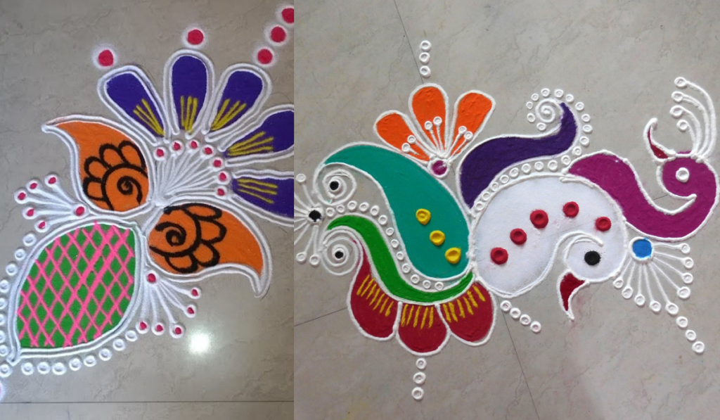 Peacock Heads and Flowers as Rangoli Designs