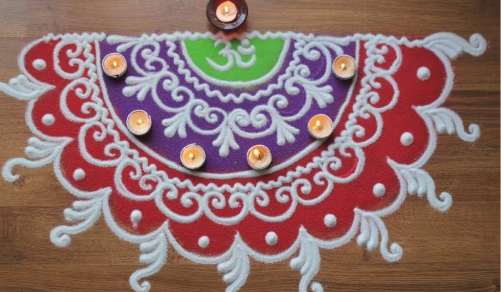 Semi-Circular Rangoli Design with temple ends