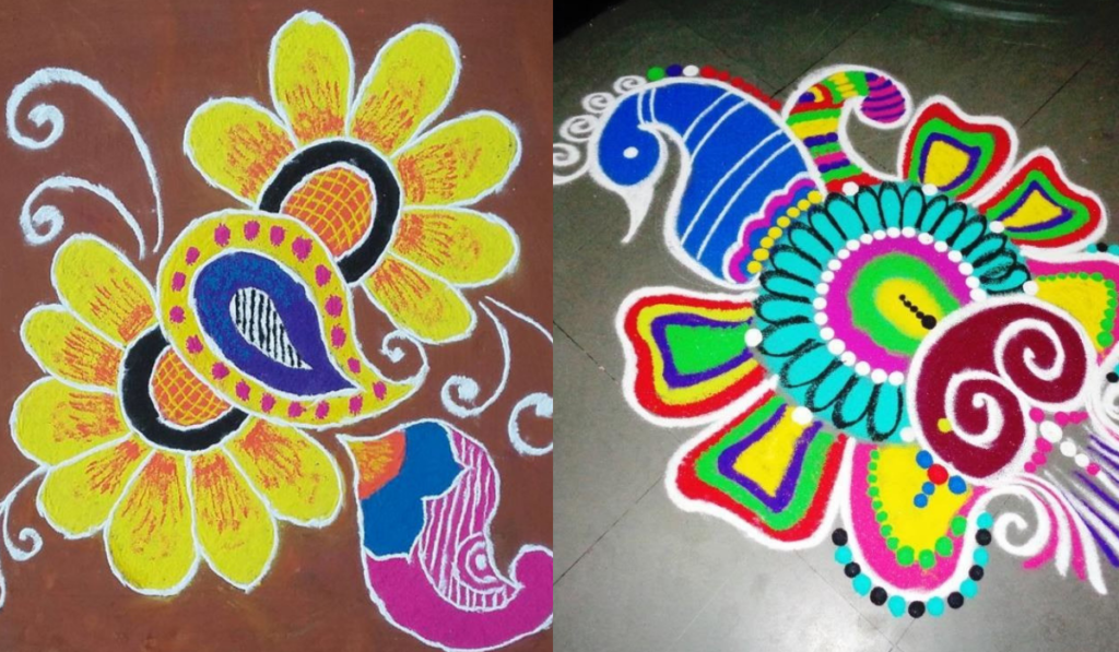 The Floral Peacock Rangoli