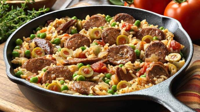 Sausages with rice
