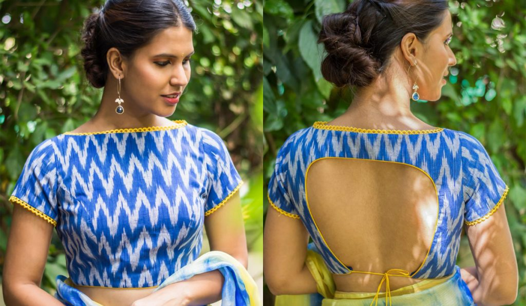 A perfect boat neck with stylish back blouse