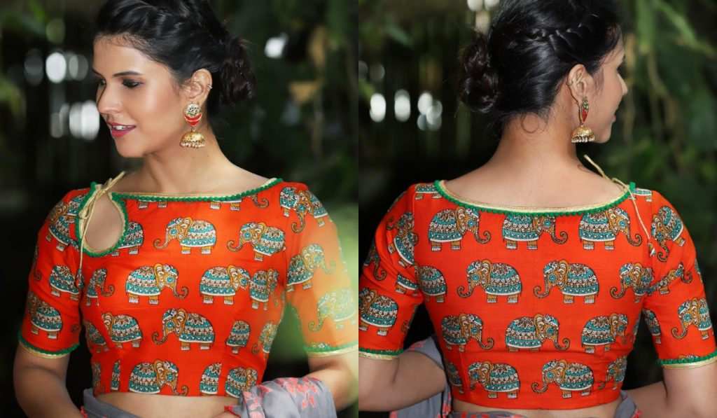 A vibrant blouse with string design