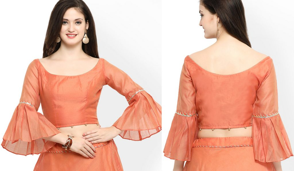 An elegant blouse with ruffled sleeves