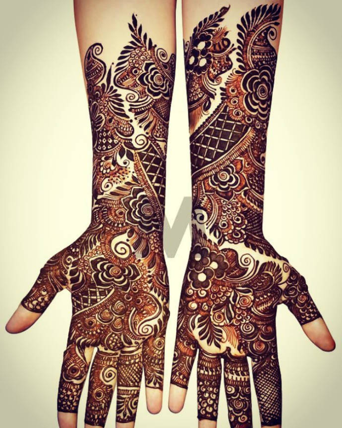 Arabian Bridal Mehndi Design for Full Hands