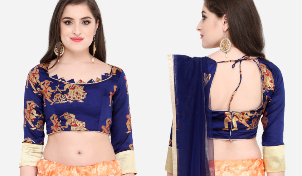 Beautiful Blue Brocade Blouse with Designer back and Front Neck Style
