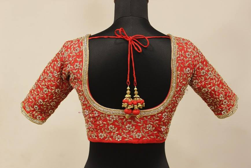 Blouse with detailed flower maggam work