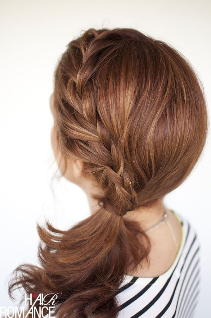 Braided short ponytail
