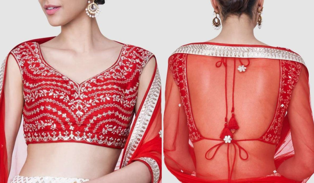Bright Red Half Sleeve blouse with Open Back
