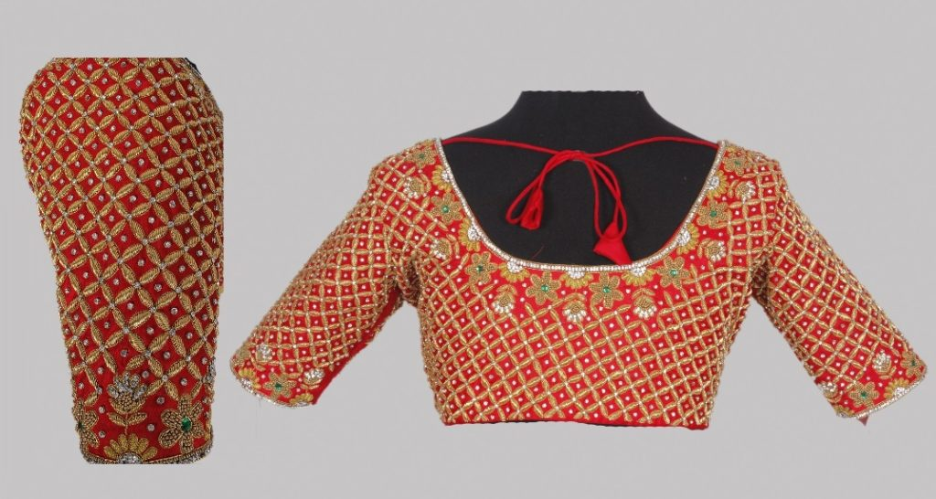 Classic blouse with intricate maggam embroidery