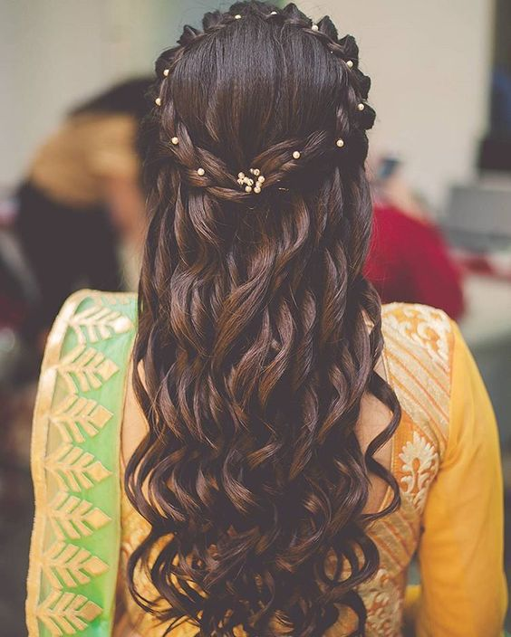 Crown style braid with tight curls