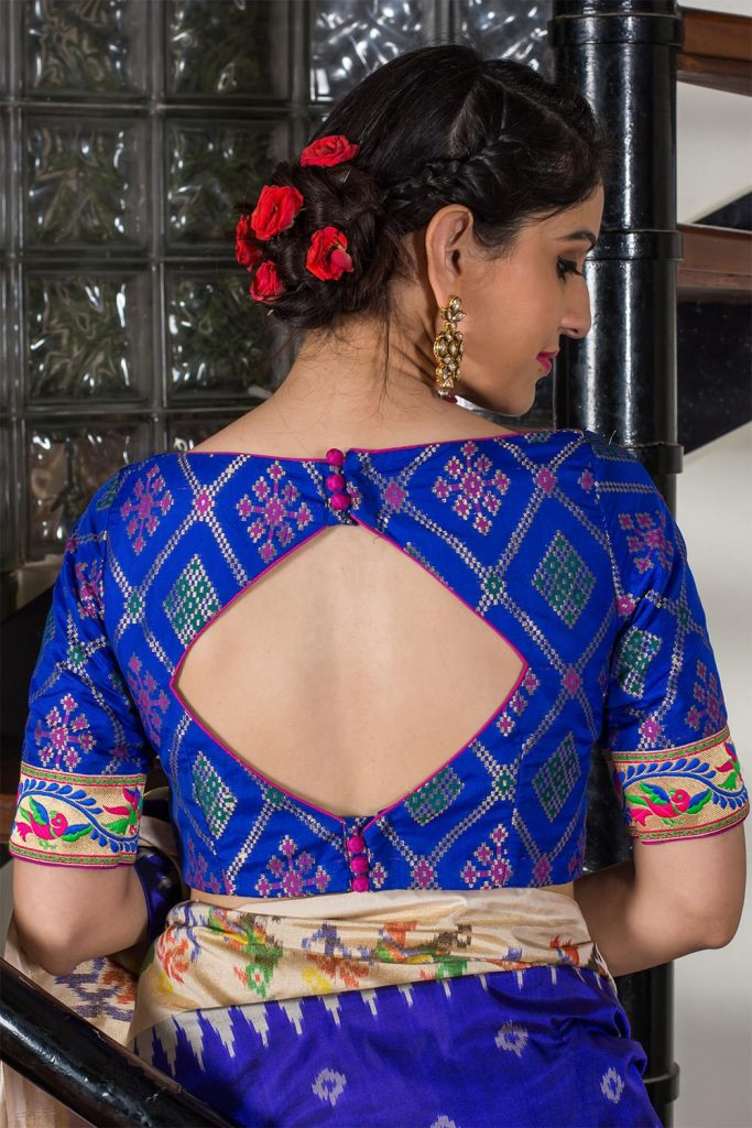 Diamond Cut Open Back Buttoned Printed Blouse