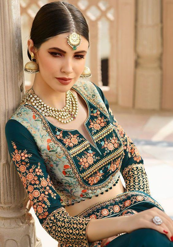 Full Embroidered Full Sleeved Round With Deep V Blouse