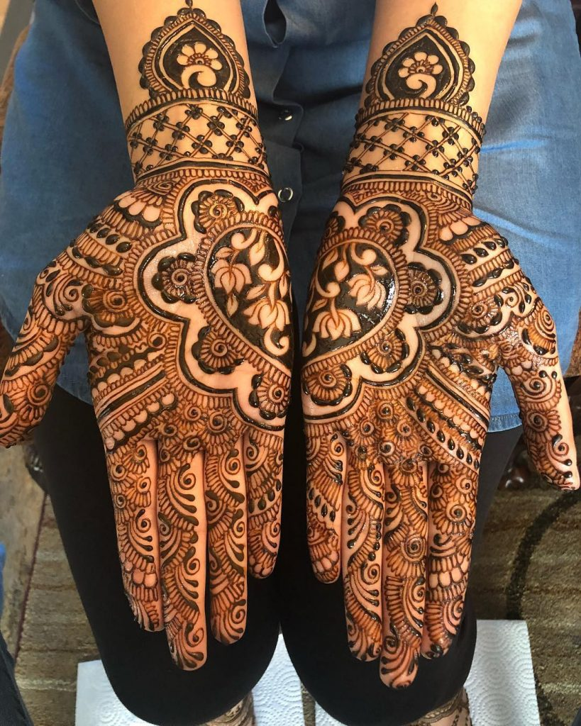 Full Hand Mirrored Lotus Bridal Mehndi