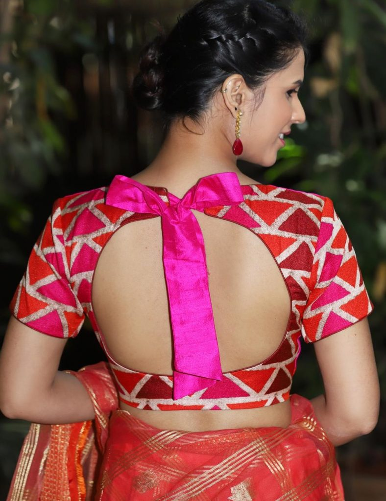 Gorgeous Back ribbon backless blouse design
