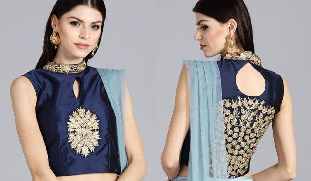 High Neck Blouse with Heavy Back Work Design
