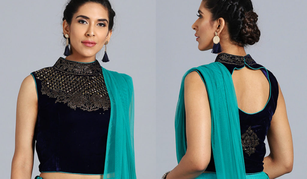 High Neck Blouse with Jewel Work Embroidery