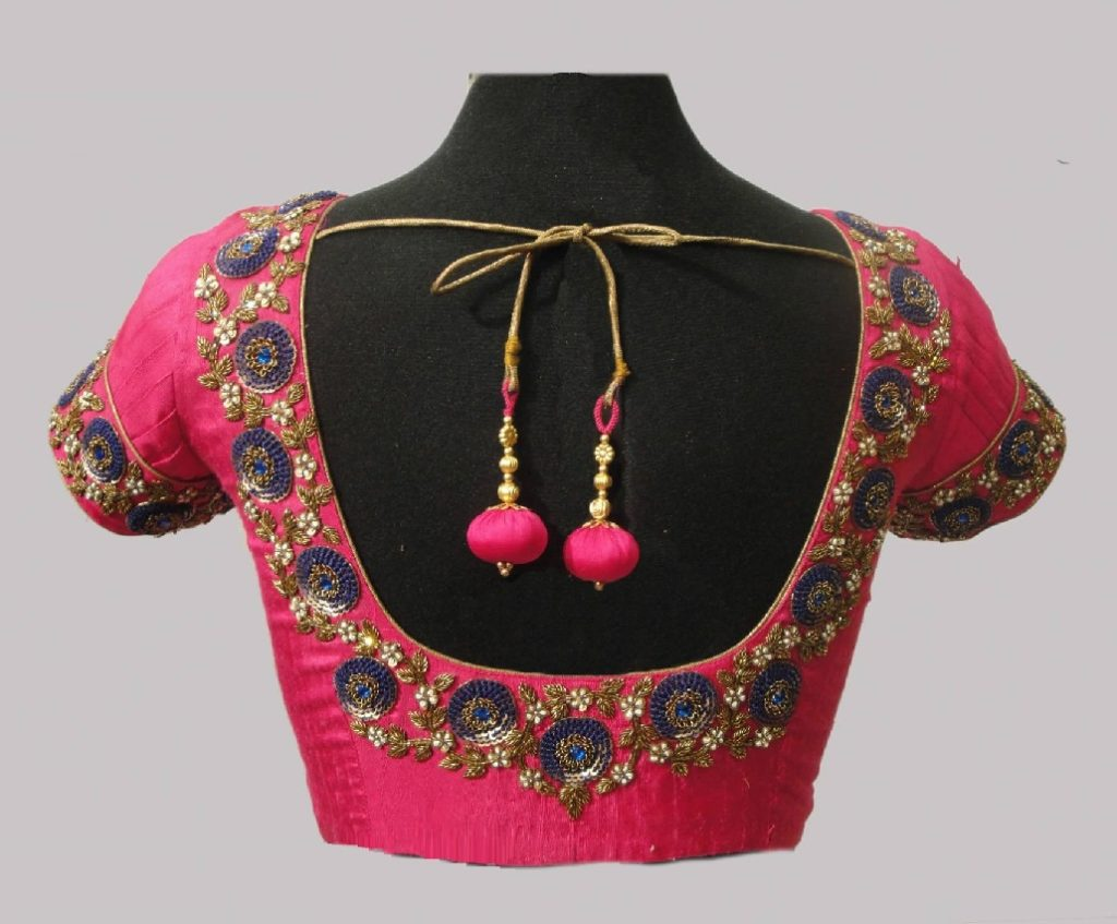 Intricate maggam design blouse