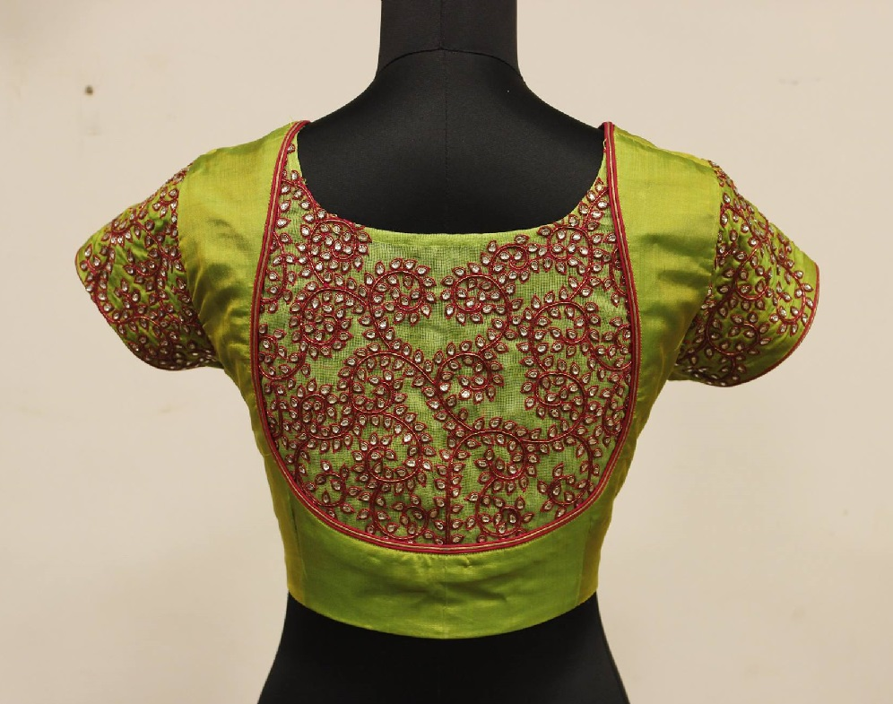 Kundan and maggam work short sleeved wedding blouse