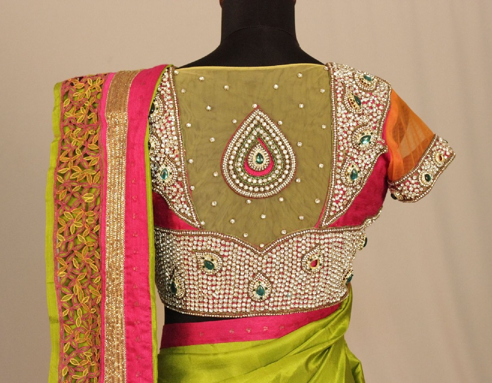 Kundan design on sheer back