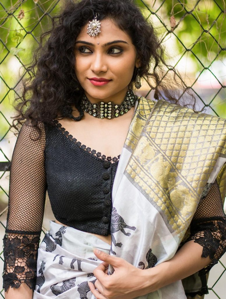 Latest Net Blouse Design With Sheer Sleeves