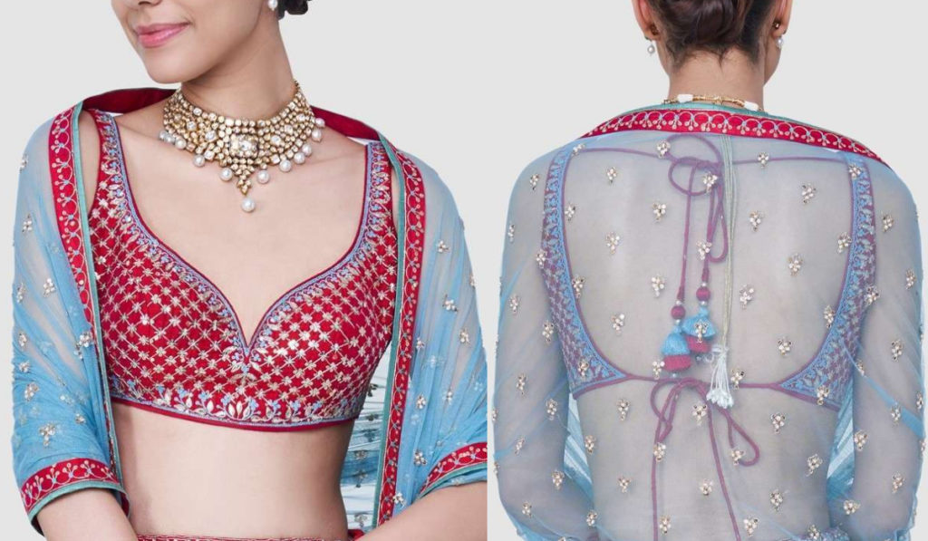 Light Blue and Red Blouse with Deep Neck and Open Back Design