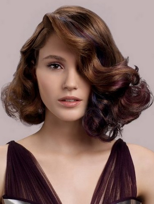 Loose curly layers with side bangs