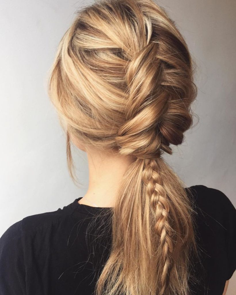 Messy finish braided tail
