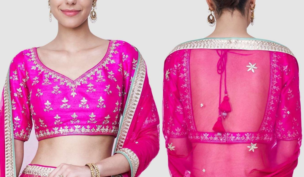 Pink Half Sleeve Blouse with Straight Back Design